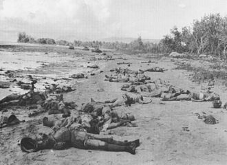 Timeline of World War II (1942) - Dead Japanese soldiers at the Matanikau River, Guadalcanal