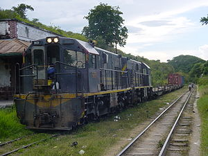 Rail transport in Guatemala - Freight train of Ferrovías Guatemala in Sanarate on September 3, 2004