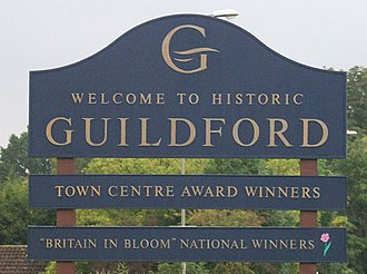 Britain in Bloom - Guildford welcome sign displaying Britain in Bloom credentials