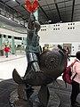 HK Lok Ma Chau MTR Station 落馬洲站 Bauhinia Rider sculpture Chinese Scuptor 蔣朔 Jiang Shuo Bronze statue March 2016 Concourse Level 3 DSC (8).JPG