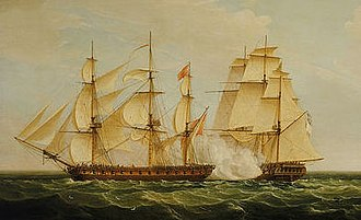 HMS Pearl (1762) - Image: HMS Pearl and Santa Monica Azores, 1779
