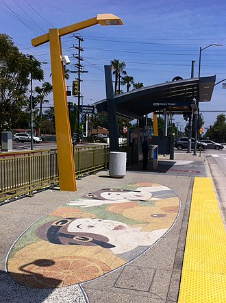 Laurel Canyon station - The entrance and floor mural of the station.