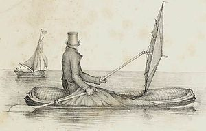 A lone figure wearing a top hat and overcoat, sitting in a small inflatable dinghy in open water with a large ship in the background. He holds an oar in one hand, and a large umbrella held horizontally in the other.
