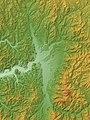 Hanawa Basin (Kazuno Basin) Relief Map, SRTM-1.jpg
