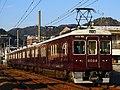 Hankyu 6000 series 6024F between Makiochi and Minoh.jpg