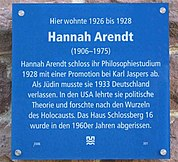 Plaque on house where Hannah lived at Heidelberg