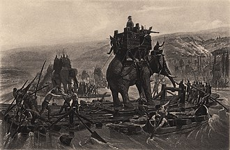 Hannibal's crossing of the Alps - War elephants depicted in Hannibal Barca crossing the Rhône, by Henri Motte, 1878