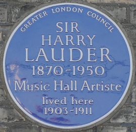 46 Longley Road, Tooting, London blue plaque Harry Lauder 46 Longley Road blue plaque.jpg