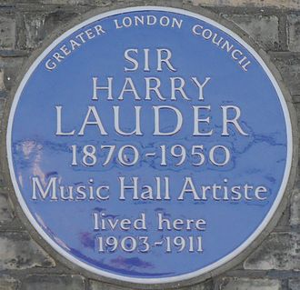 Harry Lauder - 46 Longley Road, Tooting, London blue plaque