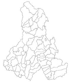 """Mapa konturowa okręgu Harghita, blisko centrum u góry znajduje się punkt z opisem """"Gheorgheni"""""""