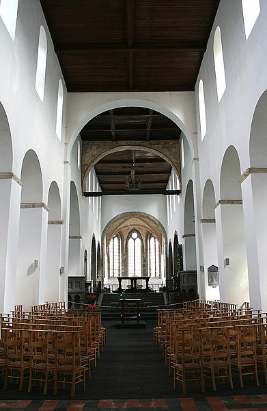 Hastière-par-delà   (Belgium), nave (1033-1035) and choir (1264) of the St. Peter Abbey church.