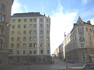 """Punavuori - Viiskulma (""""five corners"""") intersection in Punavuori"""