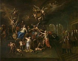De gilde van de Jonge Voetboog vereert het portret van hoofdman Jan Karel de Cordes