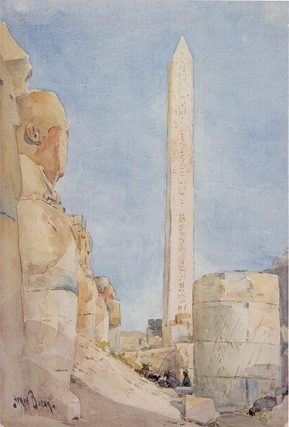 """Arquivo: Henry A. Bacon - """"Obelisco - Karnak em 1900 ', aguarela sobre a grafite por Henry A. Bacon, 1900.jpg"""