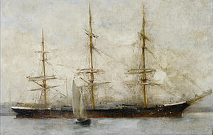 Henry Scott Tuke - A three-masted ship at anchor.jpg