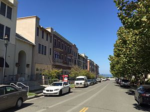 Hercules, California - Looking northward along Railroad Ave in Hercules in 2016. This redevelopment is centered near the circa 1900s company town location