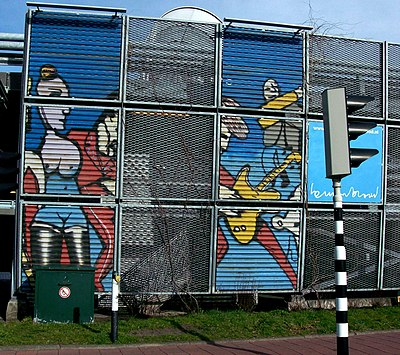 Murals by Brood on a parking garage in Leidschendam. Herman Brood 2 (Netherlands, Leidschendam).jpg