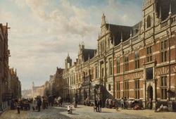Het stadhuis te Leiden door Cornelis Springer.png