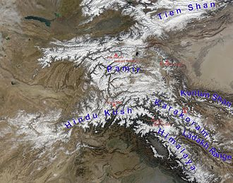Alay Valley - Pamir mountains from space Right: Tarim Basin Upper Left: Ferghana Valley The Alay Valley is just visible as a white line running west from the west end of the Tarim Basin