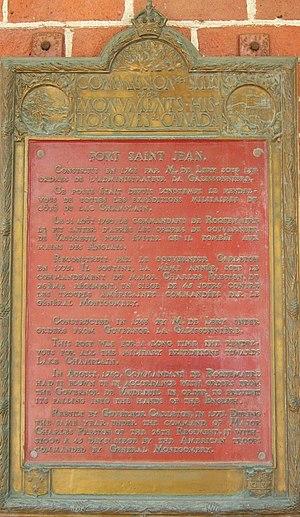 Philippe de Rigaud Vaudreuil - Historic plaque Fort-Saint-Jean 1926