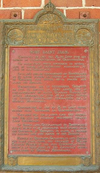 Philippe de Rigaud, Marquis de Vaudreuil - Historic plaque Fort-Saint-Jean 1926