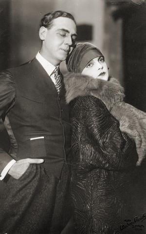 Hugo Björne - Hugo Björne with actress Margit Manstad in the play Dollar at Oscarsteatern in 1926.