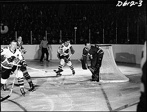 Maple Leaf Gardens - A hockey game at Maple Leaf Gardens, c. 1958–64.
