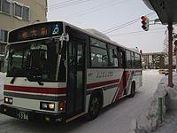 路線バス扱いで運行する例(北海道中央バス、北海道教育大学岩見沢校、学生や教員以外には時刻を非公表にしている)