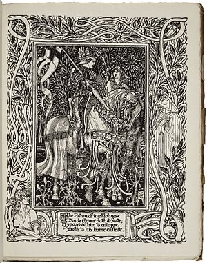 The Faerie Queene - Holiness defeats Error: an illustration from Book I, Part l of an 1895-1897 edition