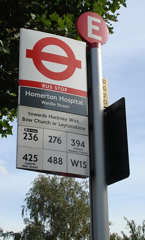 Homerton University Hospital - Image: Homerton Hosp bus stop
