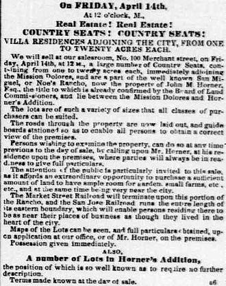 Noe Valley, San Francisco - Original newspaper advertisement for sale of housing lots in Noe Valley, April 6, 1854,
