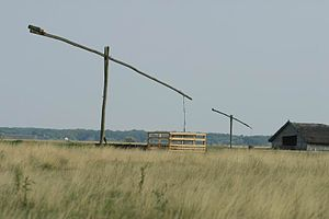 Great Hungarian Plain - Wells in the Hortobágy National Park Puszta, with a stable