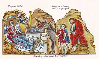 Christmas - Nativity of Christ, medieval illustration from the Hortus deliciarum of Herrad of Landsberg (12th century)