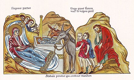 Nativity of Christ, medieval illustration from the Hortus deliciarum of Herrad of Landsberg (12th century) Hortus Deliciarum, Die Geburt Christi.JPG