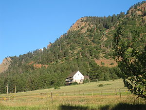 El Paso County, Colorado - An isolated rural house next to a mountain in northern El Paso County.