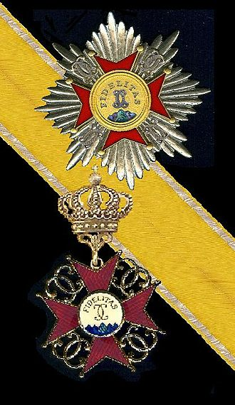 House Order of Fidelity - Star, badge and ribbon of the order.