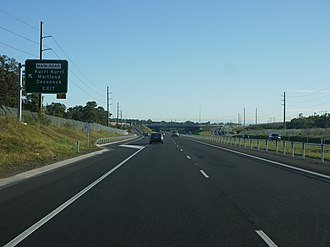 Hunter Expressway - Approaching the Kurri Kurri interchange from the east