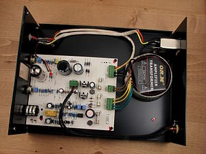 Headphone amplifier - A hybrid headphone amplifier with the chassis cover removed.