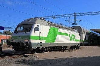 VR (company) - VR class Sr2 electric locomotive at Turku railway station.
