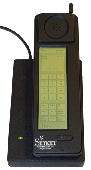 IBM Simon - The Simon Personal Communicator shown in its charging base