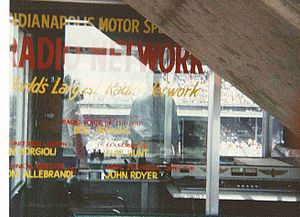 Indianapolis Motor Speedway Radio Network - Radio Network booth inside the old Master Control Tower. Bob Jenkins is visible in this 1991 photograph.