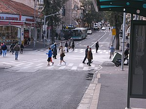 Pedestrian scramble - King George Street and Jaffa Road pedestrian scramble in Jerusalem, Israel (2007)