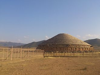 Archeology in Algeria - Tumulus shaped tomb at Madghacen.