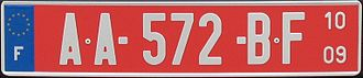 Vehicle registration plates of France - A temporary transit plate, with the expiry date on the right (October 2009).