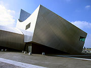 The aluminium clad east face of the Imperial War Museum North in Trafford, England.
