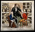 In a room filled with skulls of the famous, the phrenologist Wellcome V0011698.jpg