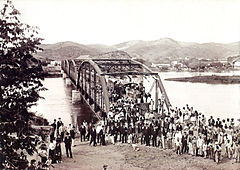 Inauguration of railroad bridge brazil 1888.jpg
