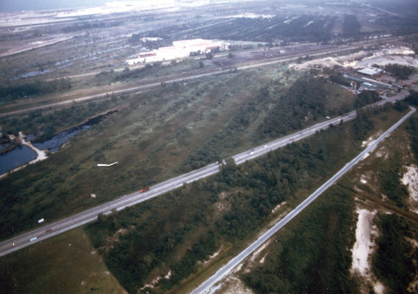 Habitat fragmented by numerous roads near the Indiana Dunes National Lakeshore. Indiana Dunes Habitat Fragmentation.jpg