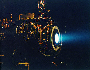 Ion thruster - NASA's 2.3 kW NSTAR ion thruster for the Deep Space 1 spacecraft during a hot fire test at the Jet Propulsion Laboratory