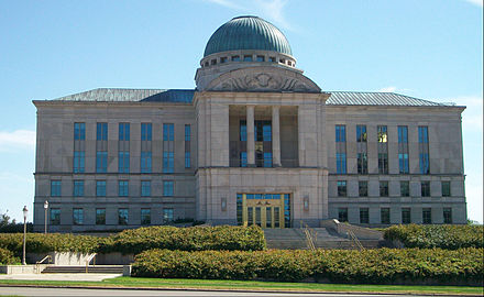 The Supreme Court of Iowa, located on Court Avenue across from the state capitol in Des Moines, is the state's highest court. Iowa Supreme Court.jpg
